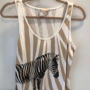 BANANA REPUBLIC zebra brown & white tank top